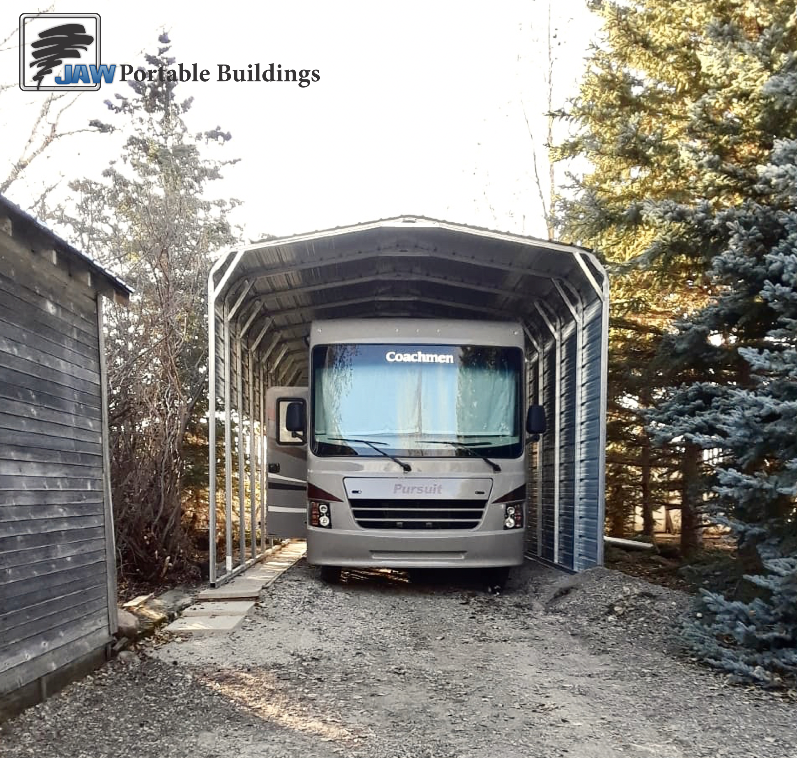 Portable RV Storage Shelter - JAW Portable Buildings